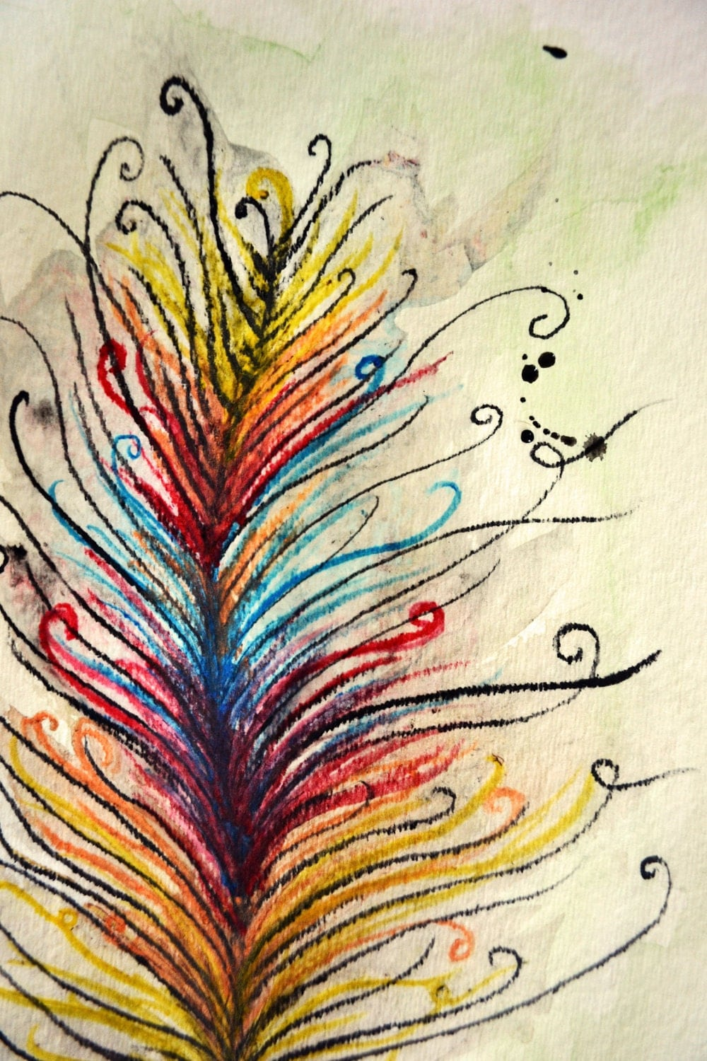 Colorful Feather Watercolor Drawing/Painting