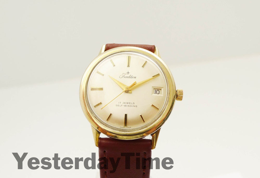 Tradition Mens Watch 1950s Swiss 17 Jewel Automatic Movement Rolled Gold Case