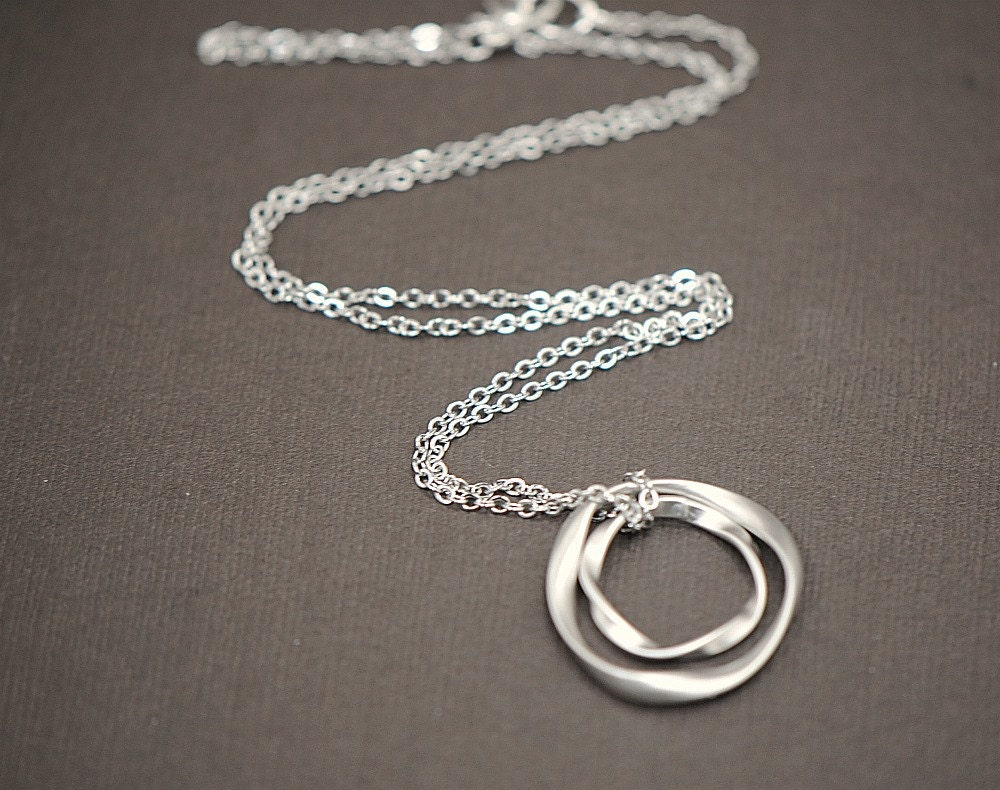Double Eternity Mother and Child Pendant Necklace in SILVER - ($26)