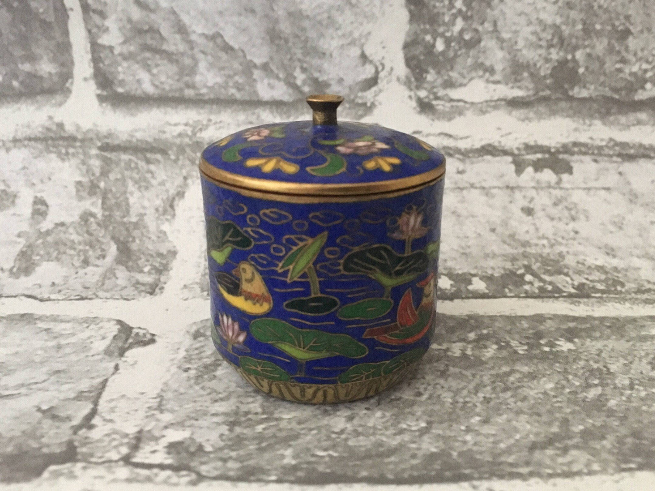 Chinese Cloisonn Enamel Ring Box Trinket Box Enamel Ducks In Water