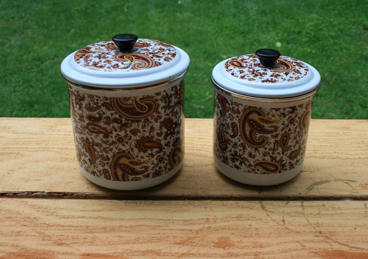 enamel floral and paisley canister set by gotrustandmore