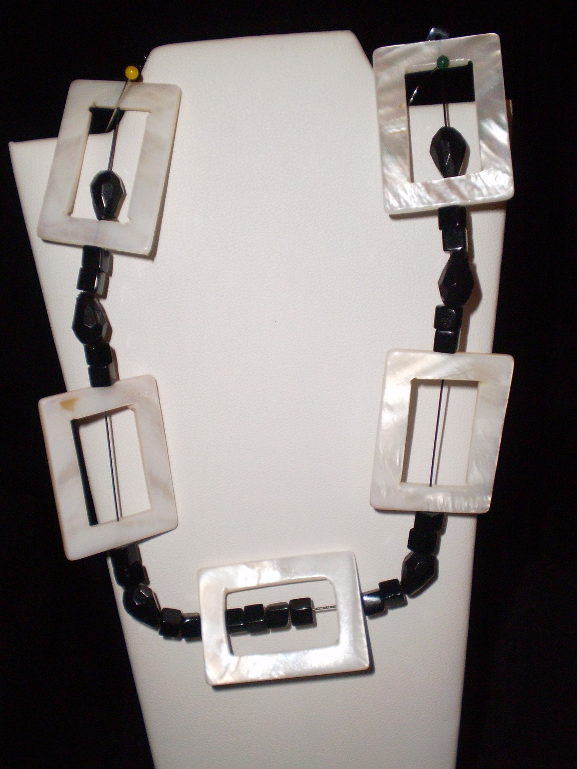 Necklace and Earring Set White Mother of Pearl and Black Bead