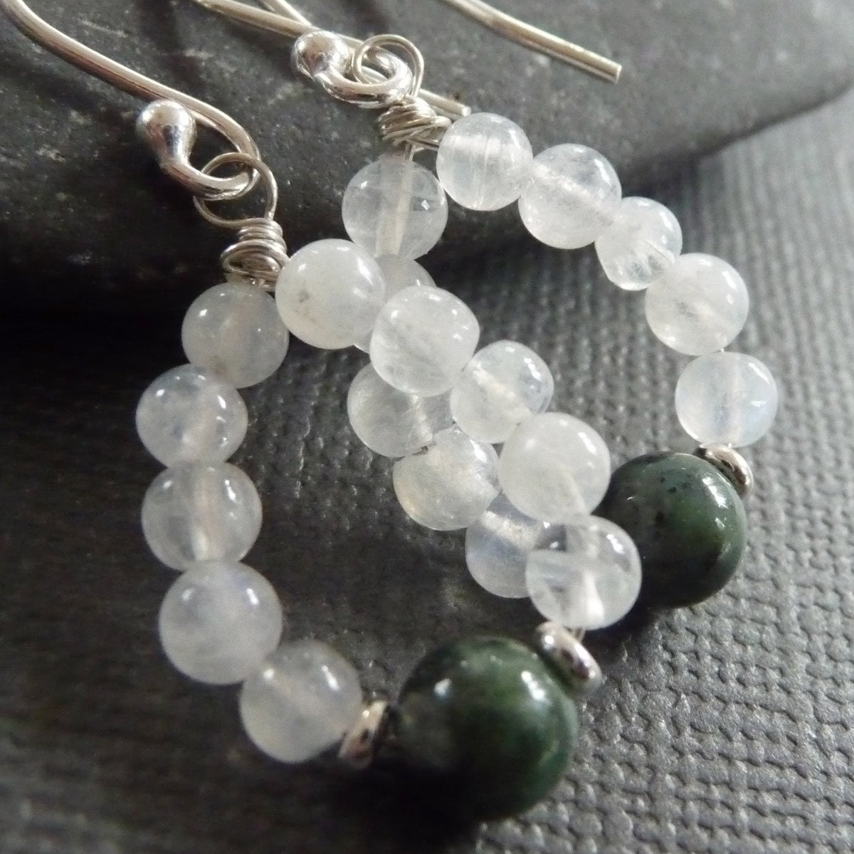 Moonlight Sonata Moonstone and Green Fancy Jasper Earrings