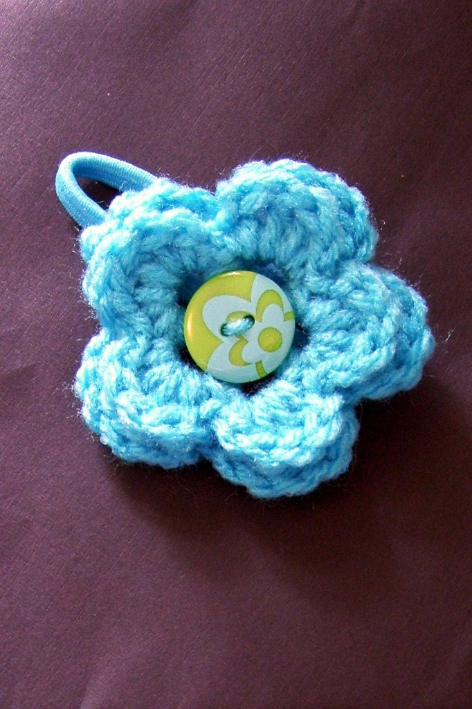 Flower Ponytail Holder Button Center