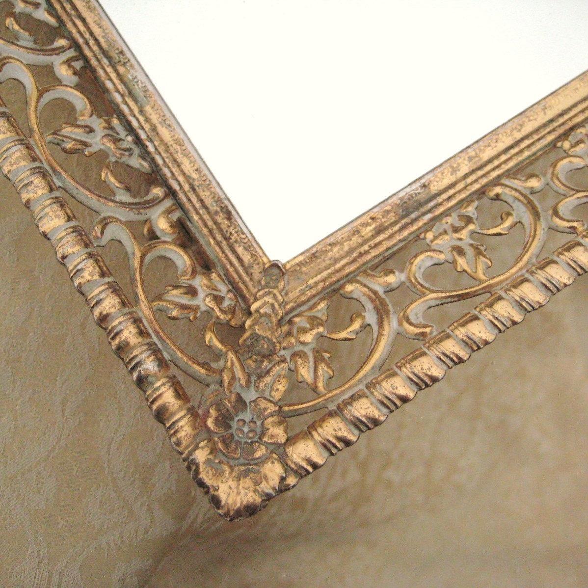 Large Ornate Vintage Metal Filigree Mirrored Vanity Tray