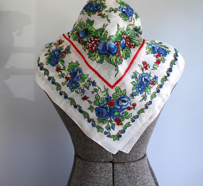 vintage 1960s garden party scarf
