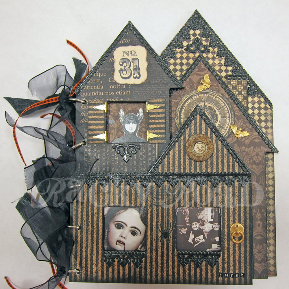 Spooky Haunted House Collaged Book For Halloween
