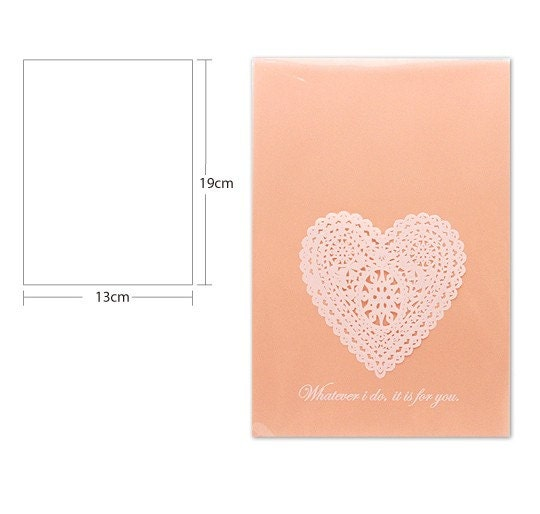 Heart Doily Printing Cello Polypropylene Bags - Peach, 130mmx190mm