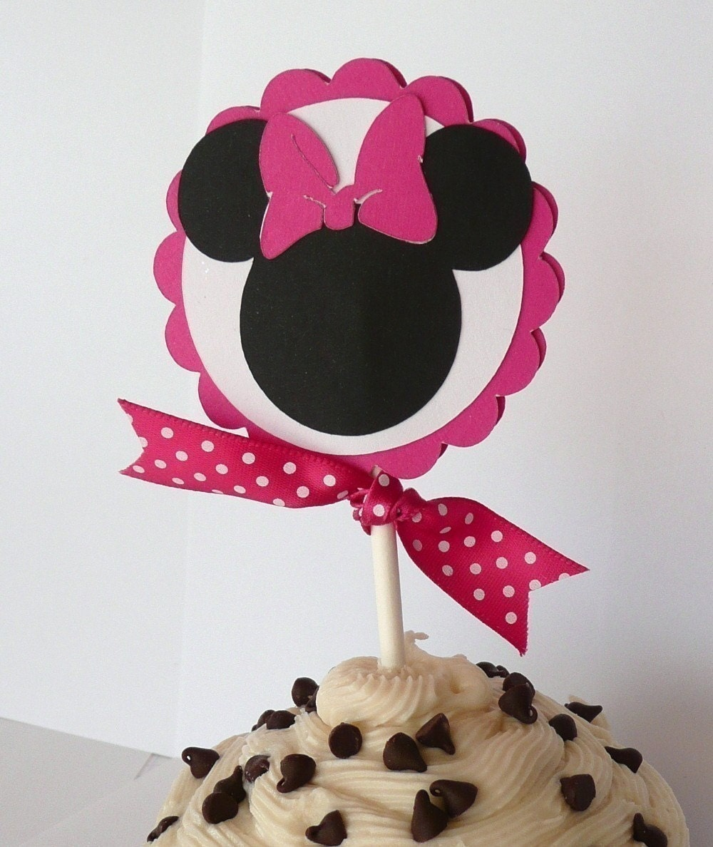 Minnie Mouse Cupcake Toppers CUSTOMIZED for Birthday Party Baby