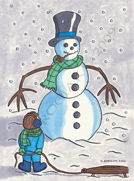 Snowman - Art Print (Matted and Signed) by Daniel Dorociak of Doro Studios