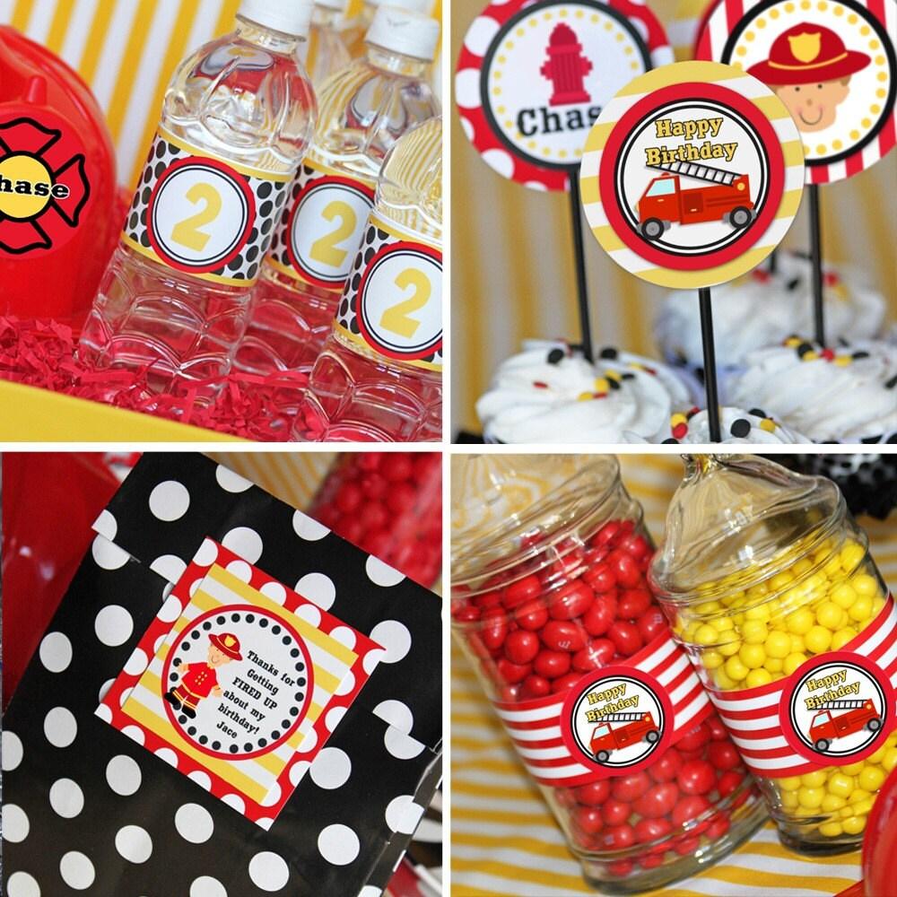 Firefighter Cupcake Decorations Similiar Fire Truck Happy Birthday Tyler Keywords