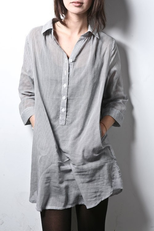 Womens Oversized Boyfriend Pinstripe Button Down Shirt