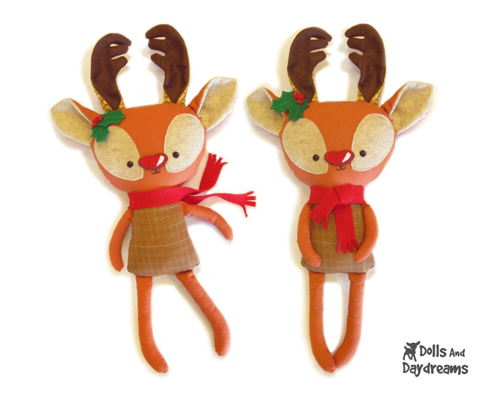 Rudolph Reindeer Softie Sewing Pattern PDF Christmas Holiday Red Nose Deer Stag Stuffed Toy - DollsAndDaydreams