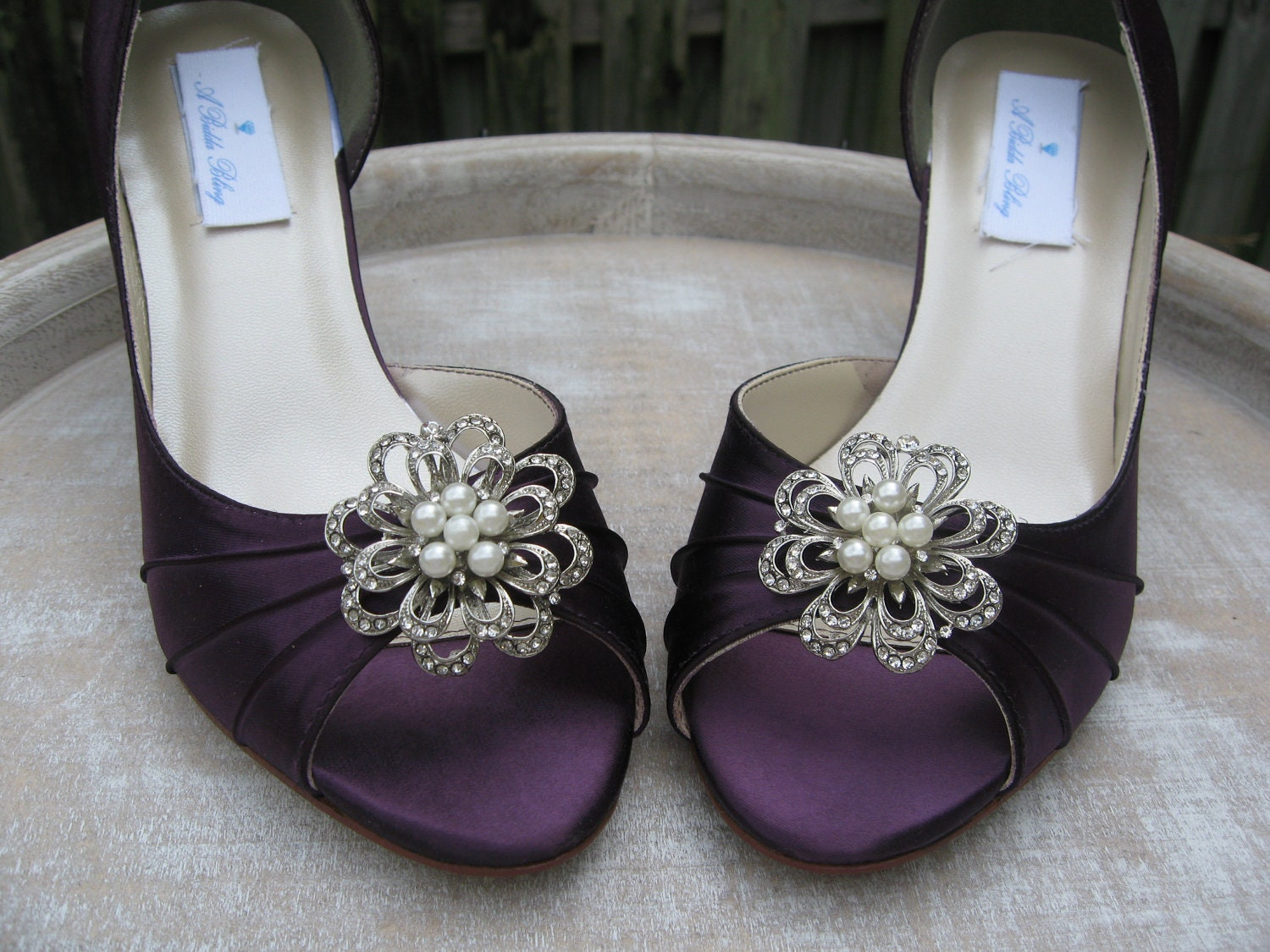 Vintage inspired purple eggplant bridal shoes with pearls and crystal