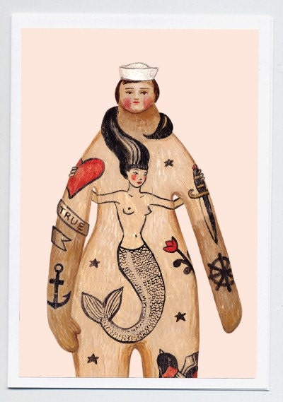 Greeting card - Tattoo Sailor in Love