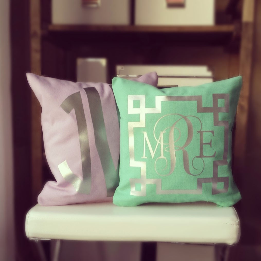 Monogrammed Throw Pillow Covers : Monogram Throw Pillow Cover Teal Metallic by idreamingoldshop