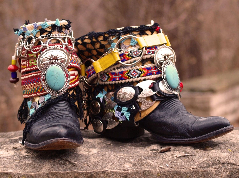Custom Black boho LUXURY upcycled COWBOY boots - boho boots - TheLookFactory