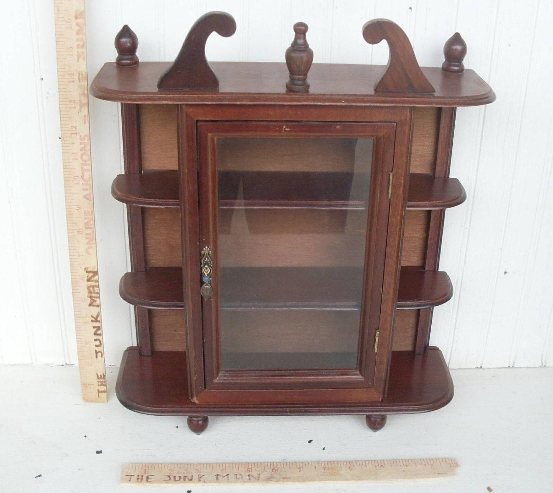 vintage wood curio cabinet with glass door 3 shelves by. Black Bedroom Furniture Sets. Home Design Ideas