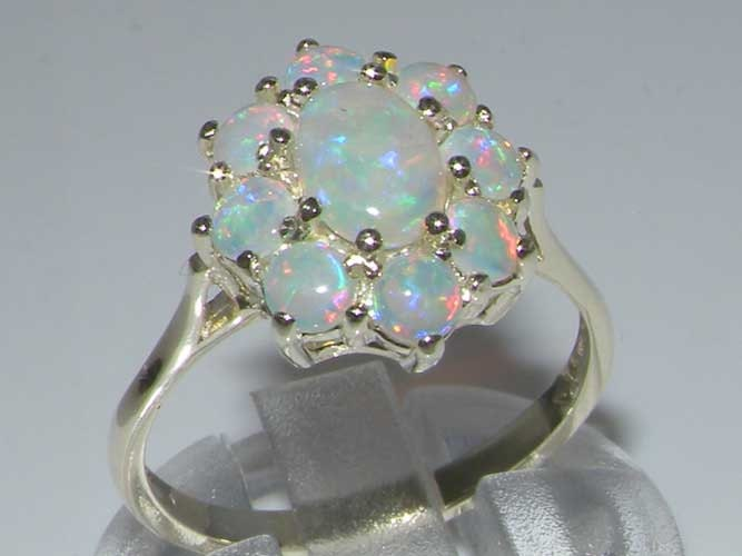 925 Sterling Silver Total 1.3ct Genuine Colorful Opal Cluster Flower Ring Opal Anniversary Ring English Antique Style  Customizable