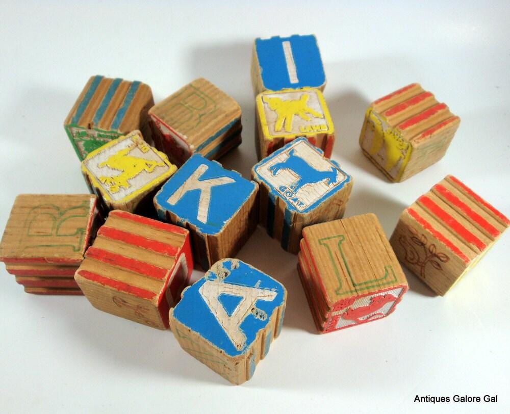 Vintage Alphabet Wood Blocks, Childrens, 1950's - AntiquesGaloreGal