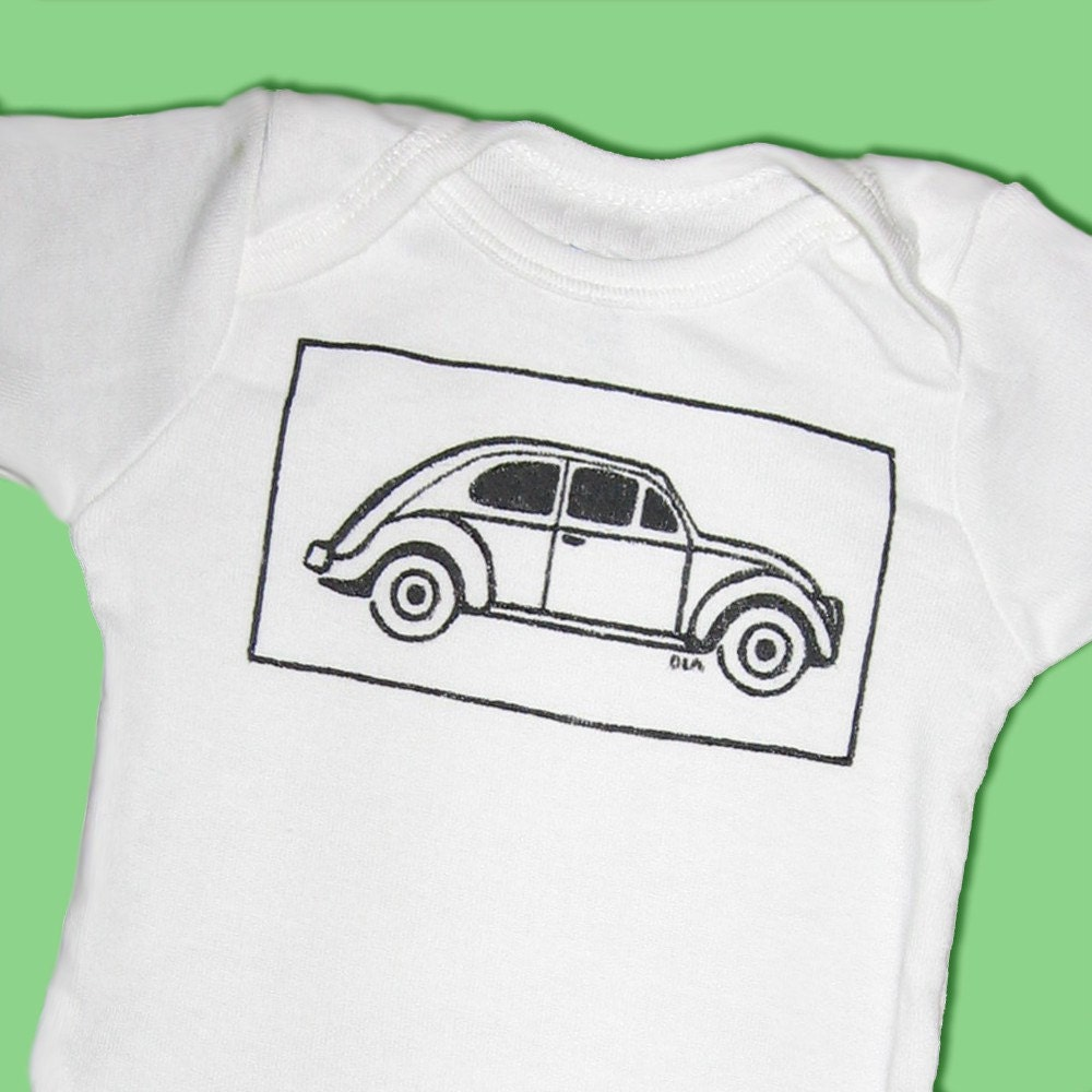 Hand Painted Volkswagen Beetle Baby Bodysuit or Kid's T-Shirt (newborn-kid's 6/8)