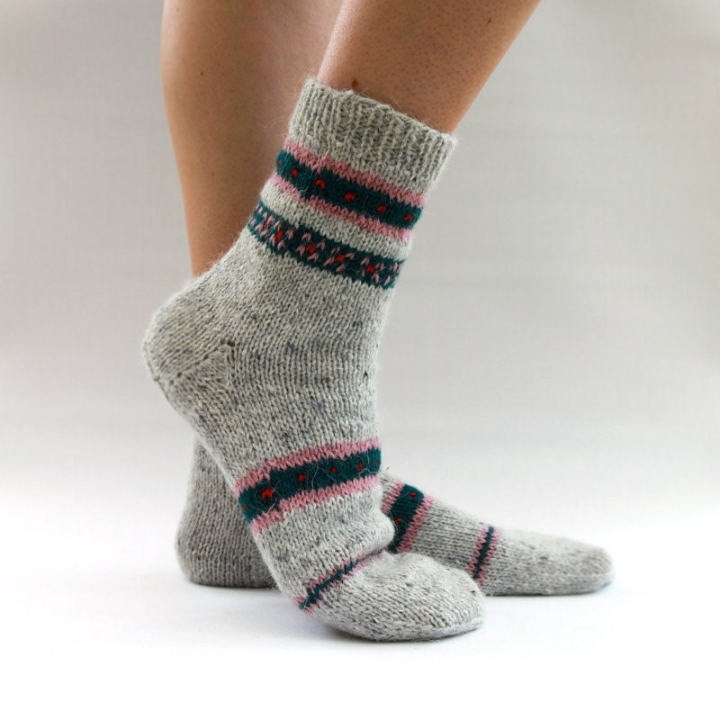 Knitting Pattern Wool Socks : hand knit wool socks by HappyLaika on Etsy
