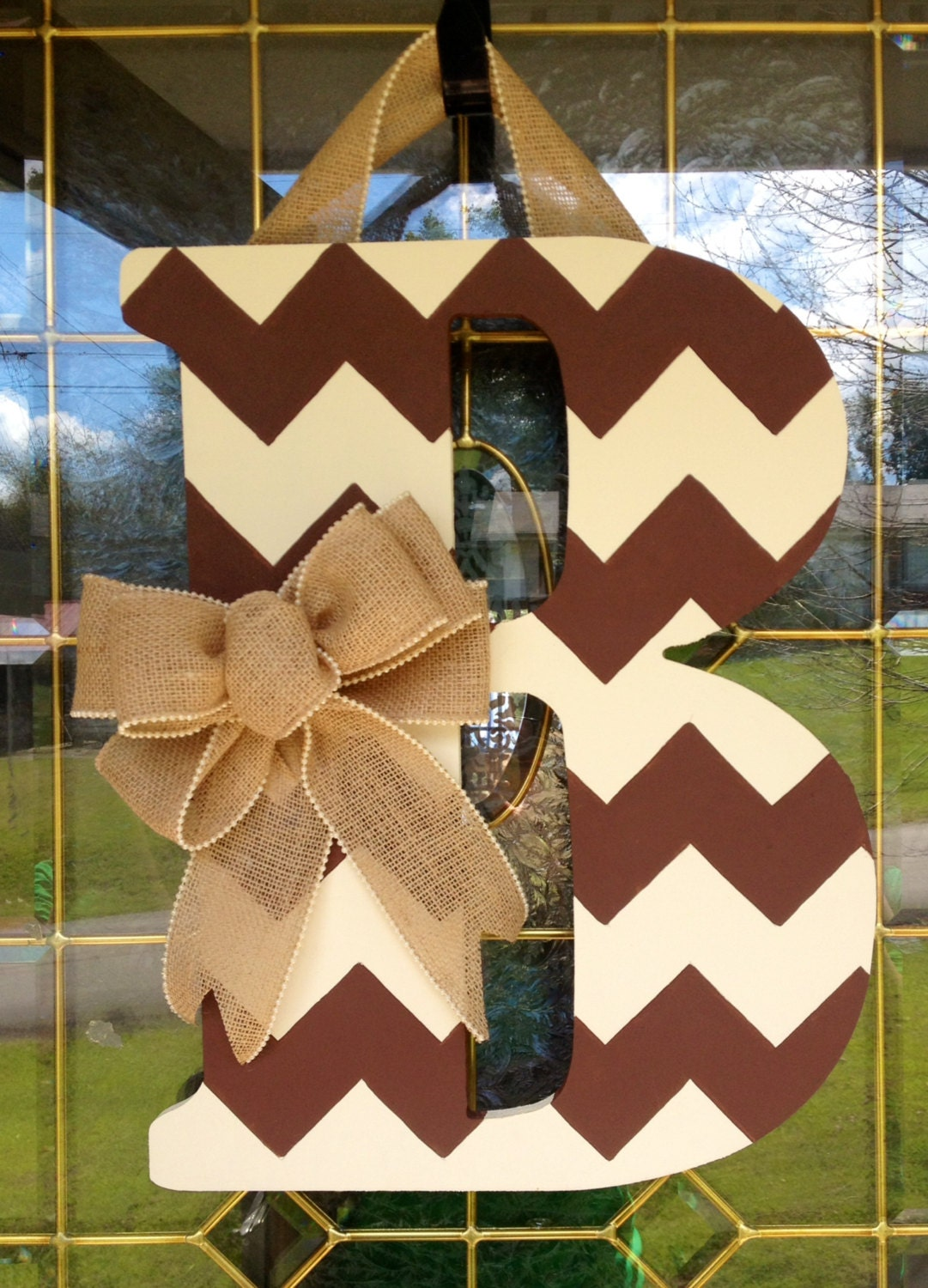 Chevron Monogram Door Hanger With Burlap By