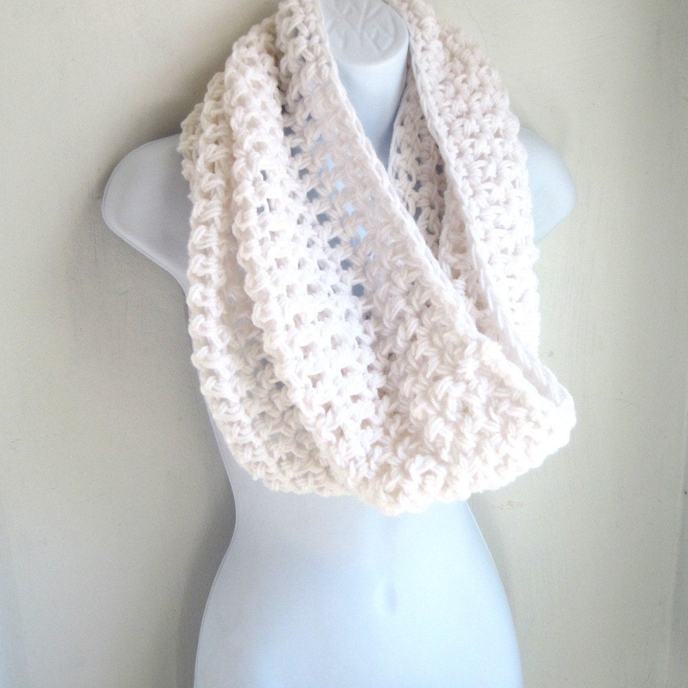 white infinity scarf cowl large by jarvisdesignstudio