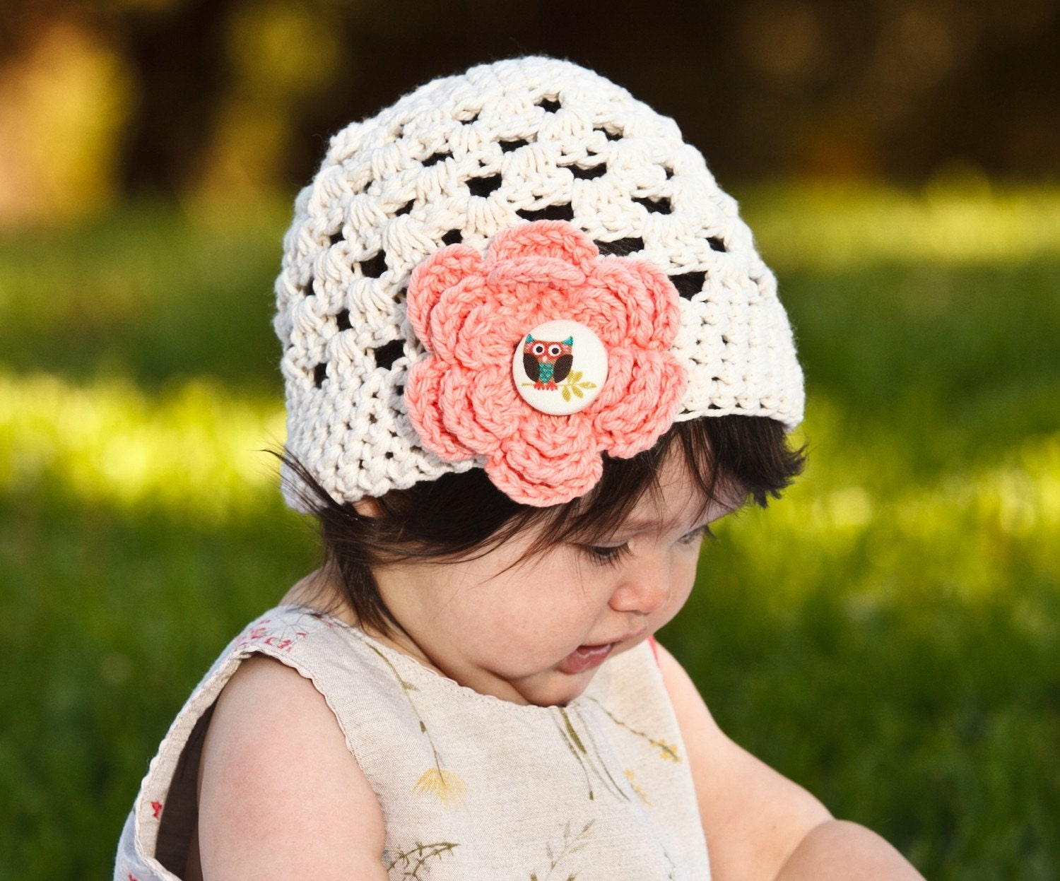 OWL HAT - Ecru Hat Beanie with Tea Rose Flower and Owl Button - Available in all sizes