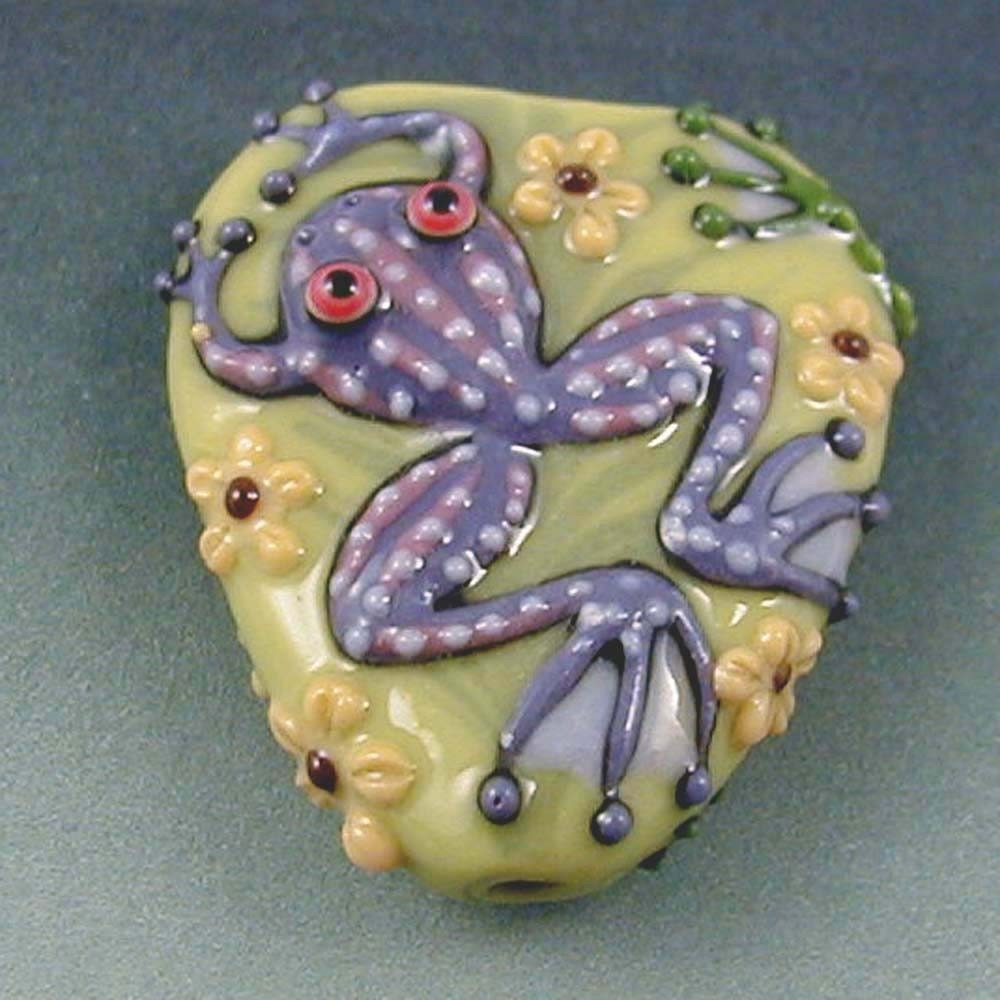 Lots of Frogs Porcelain Focal Bead