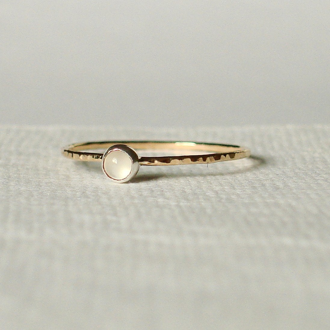 Dottie Thread of Gold -  Simple and Sweet Cabochon Stacking Ring with Choice of Stone - Delicate Jewelry