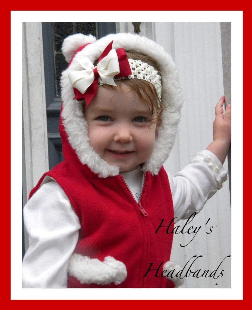 RED and IVORY(can make it white or green if preferred) HOLIDAY CHRISTMAS BABY - GIRL BOW HEADBAND