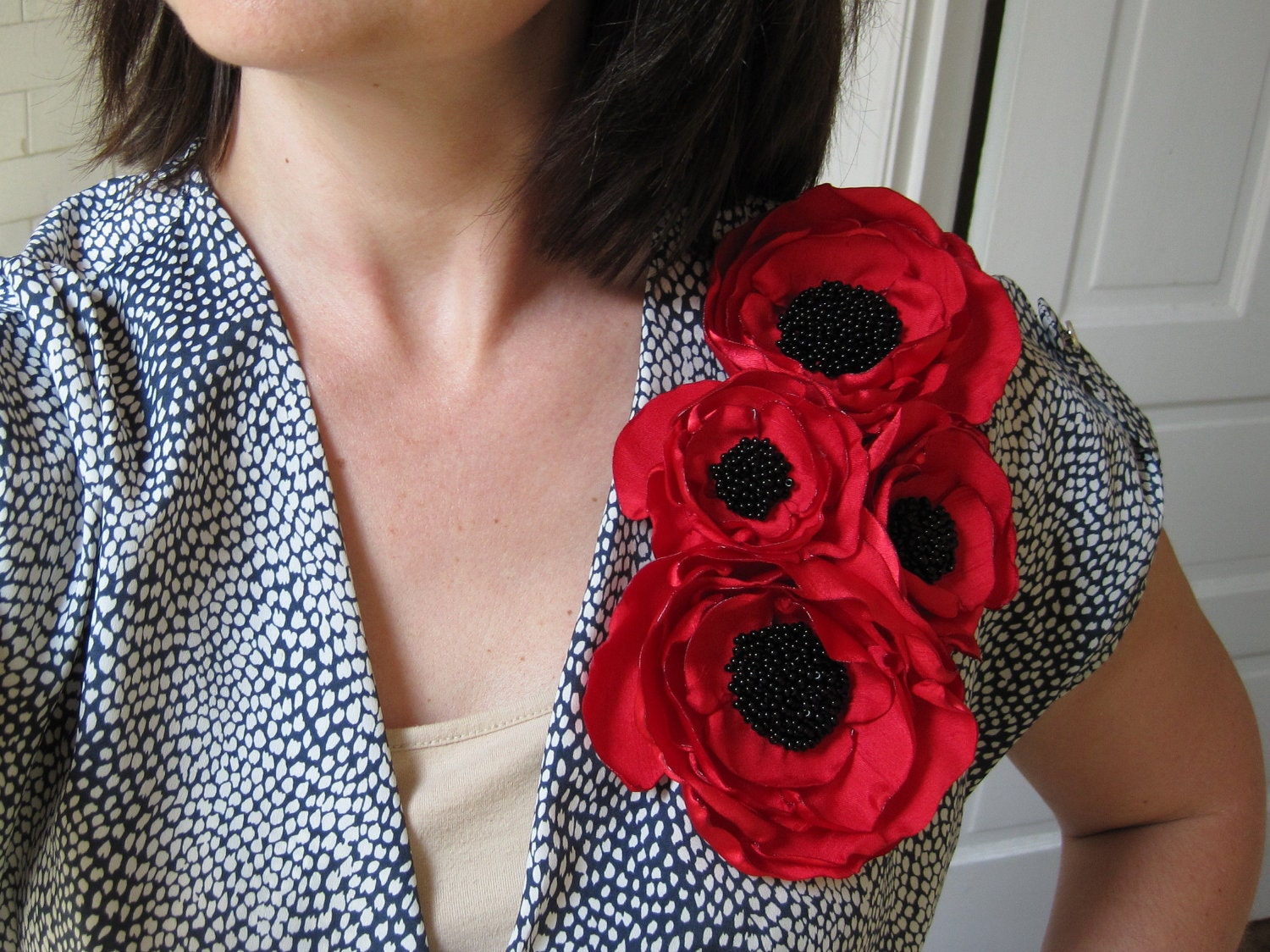fabric flower brooch corsage in bright red shantung with beading - Made To Order - POPPY