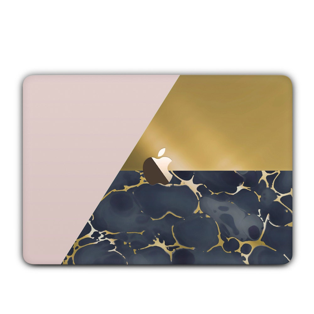 Marble MacBook Case With Gold and Geometric MacBook Air Air Retina Pro Pro Retina unique marble design laptop hard case  Gold Pink