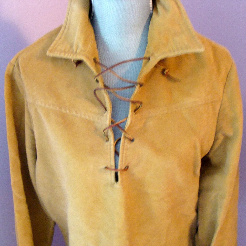 Vintage Hague Suede Buckskin Type Shirt Size By