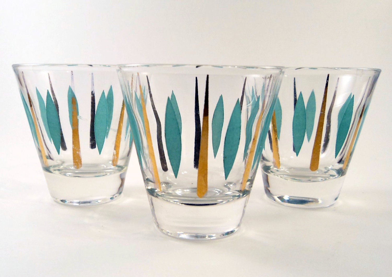 3 Mod Teal and Gold Shotglasses