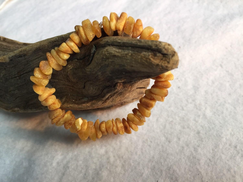 1Adult Raw Baltic Amber Bracelet Stretchy 18  Nugget Milk RARE