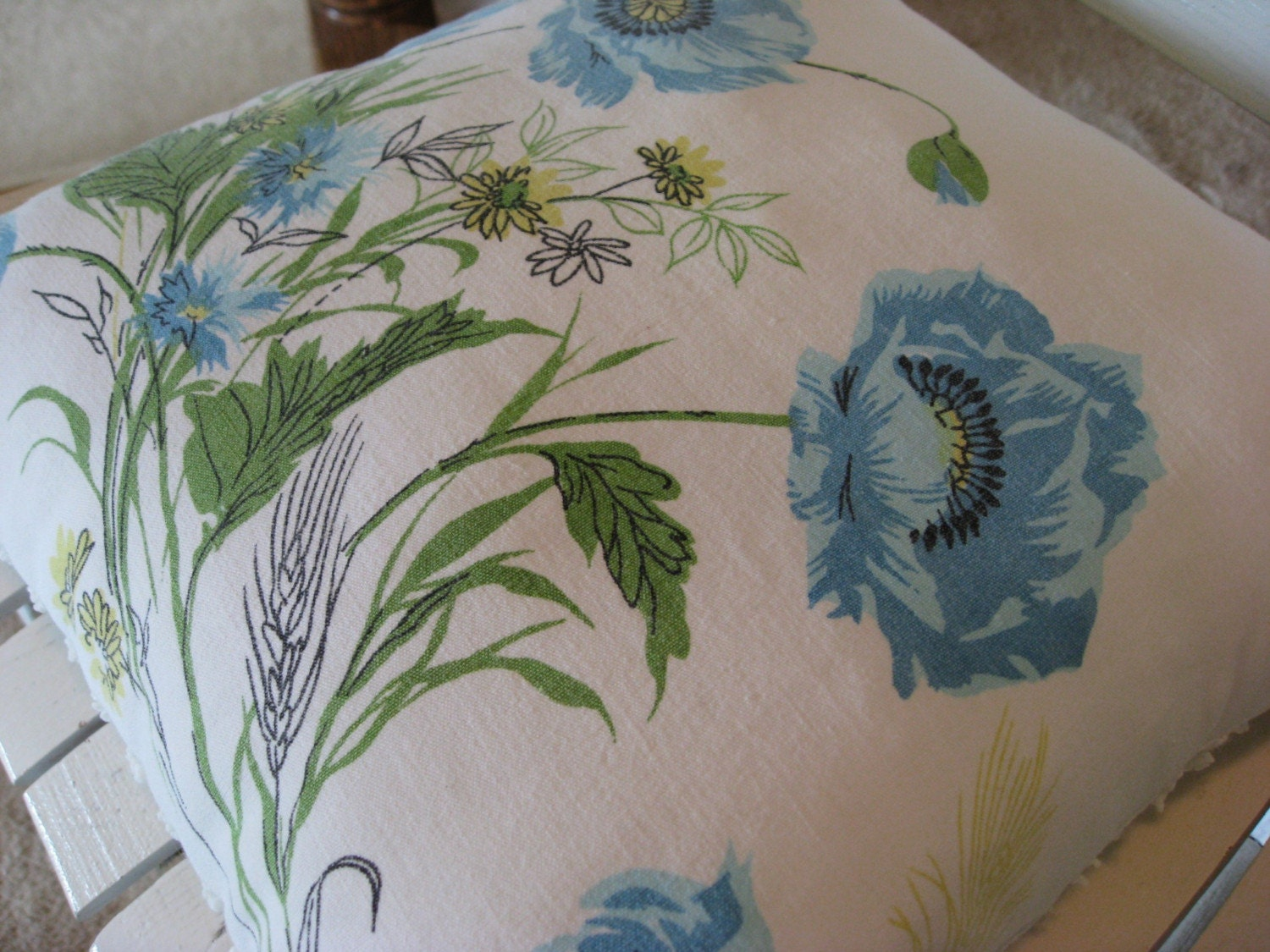 Vintage Tablecloth Pillow  - Blue Florals - Green and Yellow