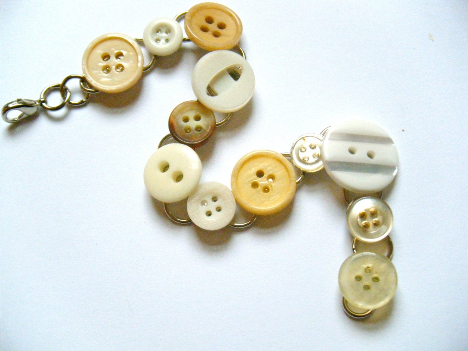OOAK Vintage Buttons Metal Bracelet Recycled Material Silver Beige Sewing Upcycled Repurposed Funky Seamstress Circle Mixed Media Jewelry