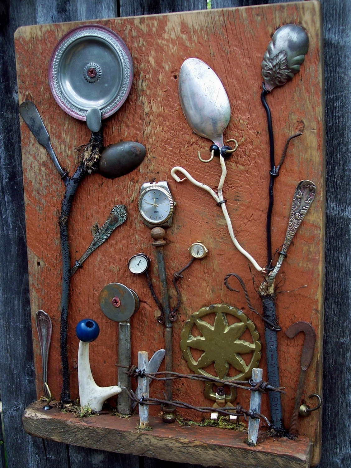 Garden themed assemblage art | Garden | Pinterest