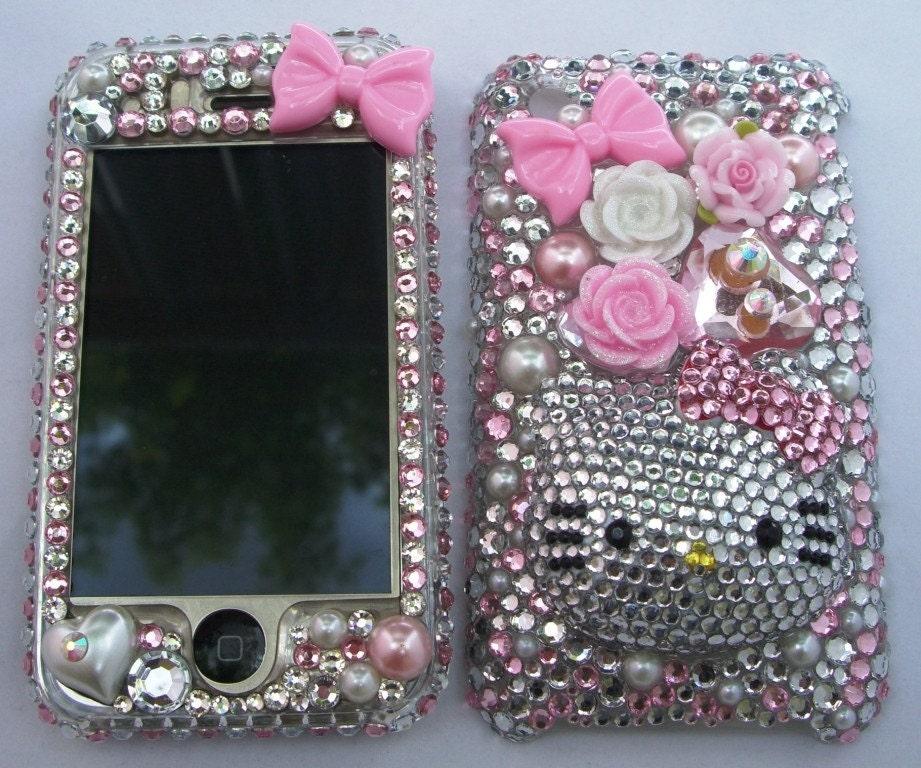 Bling Swarovski Rhinestone Hello Kitty Iphone 3G/3GS Faceplate 007