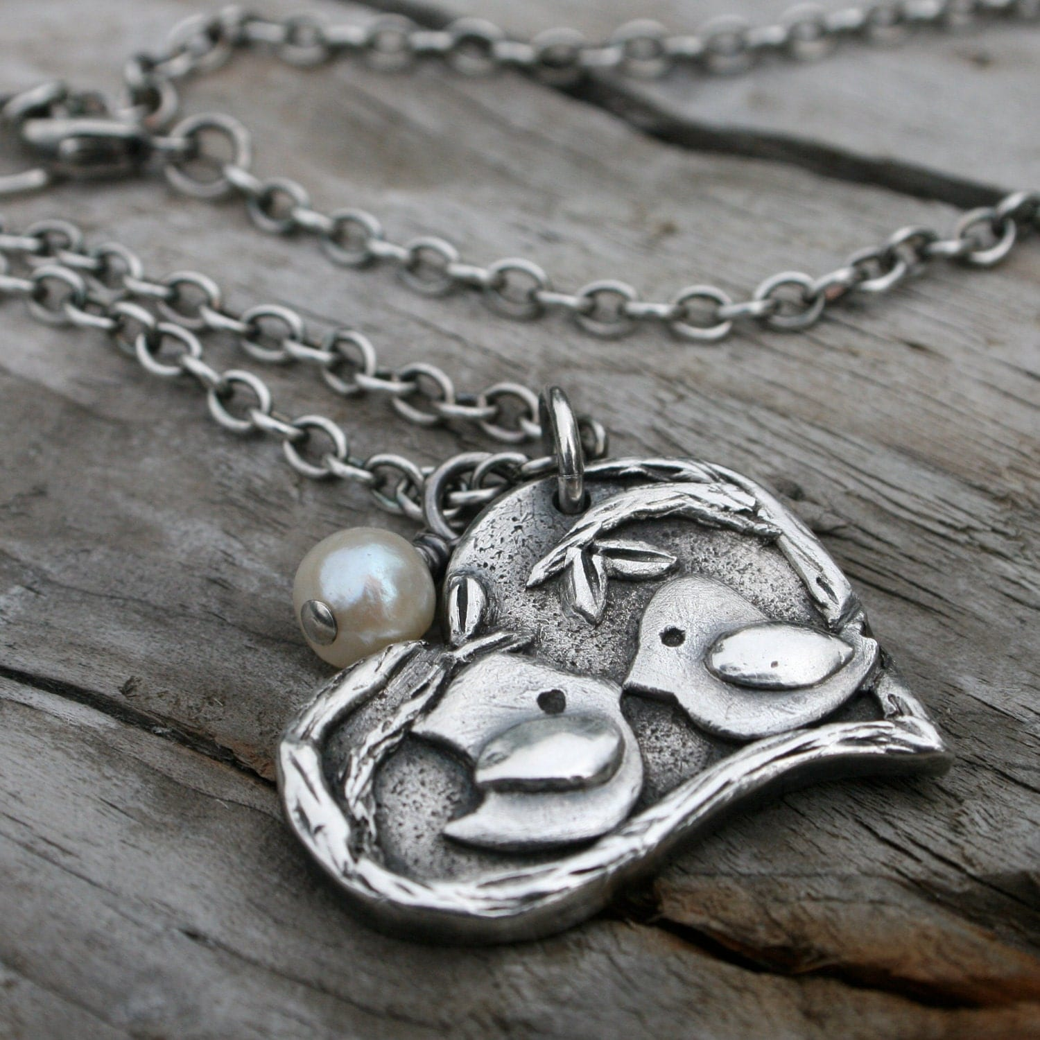 PMC Personalized Fine Silver Lovebirds Necklace