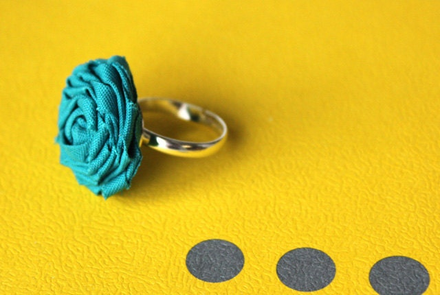 Turquoise Fabric Rosette Ring
