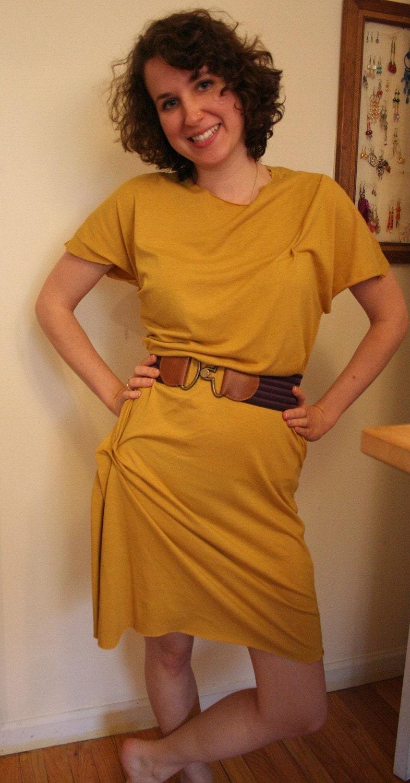 Yellow Mustard Knit Jersey Draped Dress Eco Friendly FREE SHIPPING WORLDWIDE size XSmall Small Medium