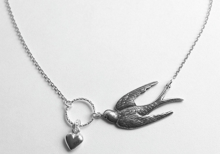 AMOUR-Valentine Sterling Silver Swallow with Heart Necklace