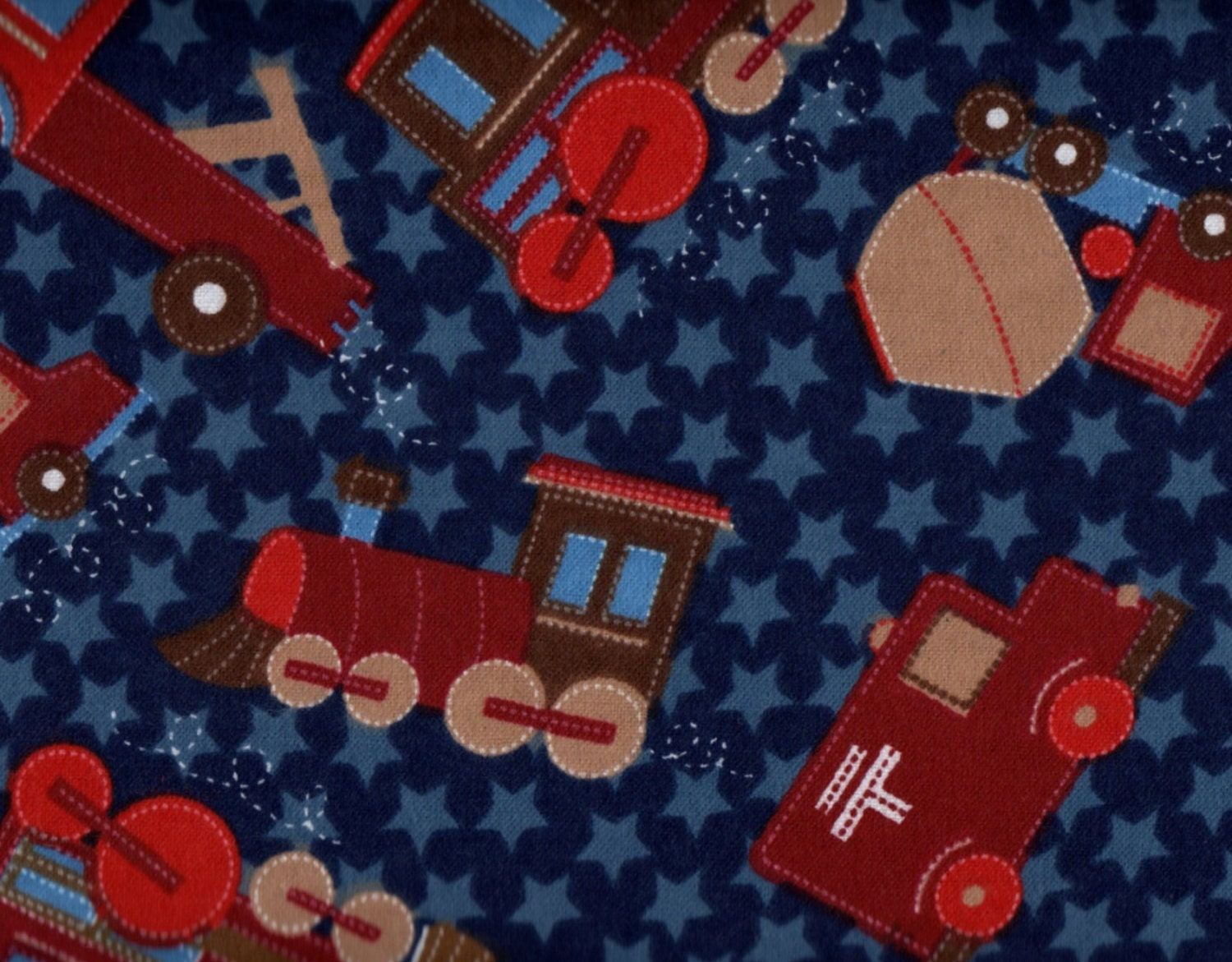Train flannel fabric travel fabric train by thebusybeequilting for Train fabric by the yard