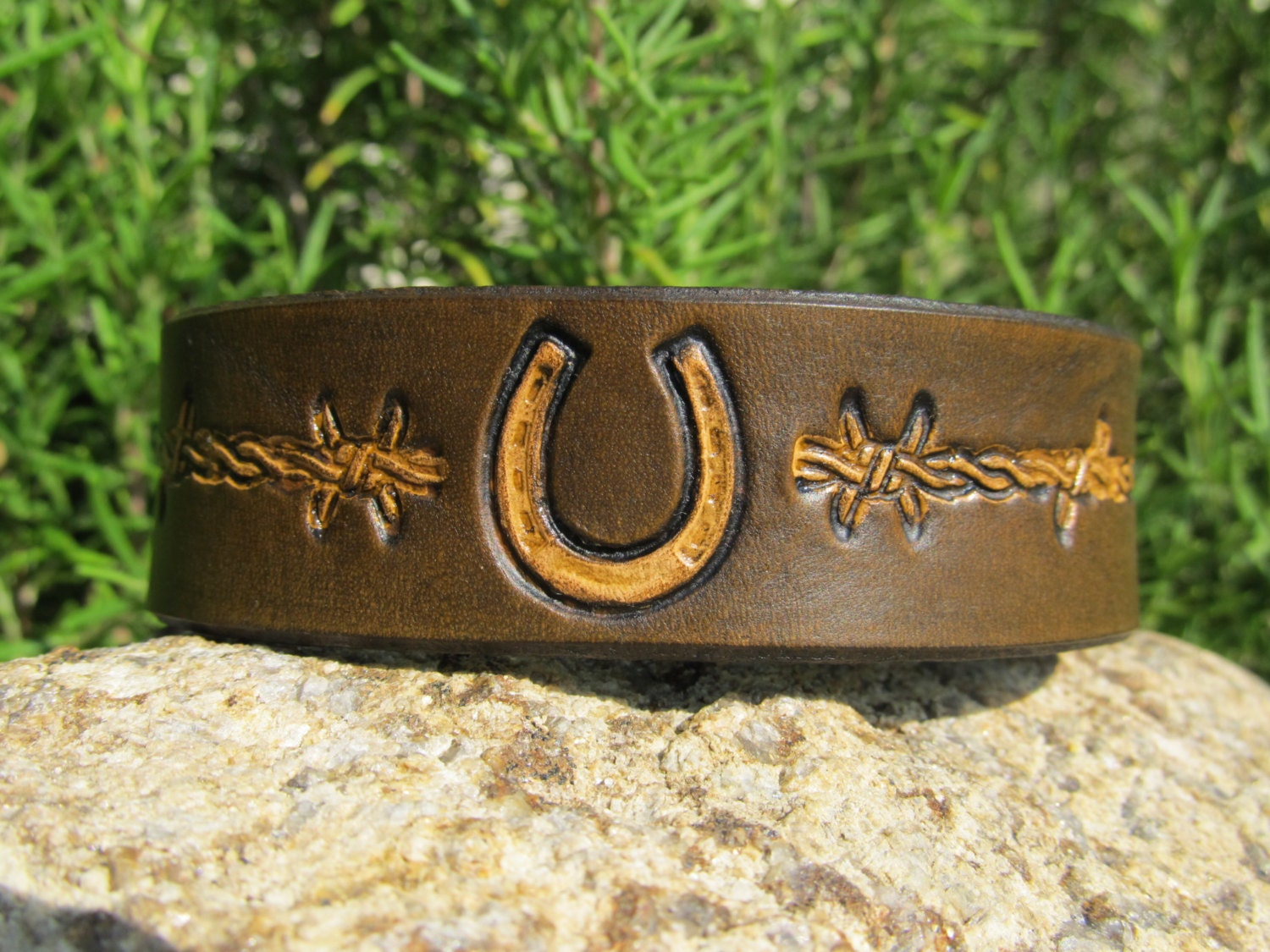 Hand Painted Tooled Leather Cuff Bracelet - 1 inch wide - Horse Shoe and Barbed Wire - Men Women Boy Girl Kids Children - SarahsArtistry