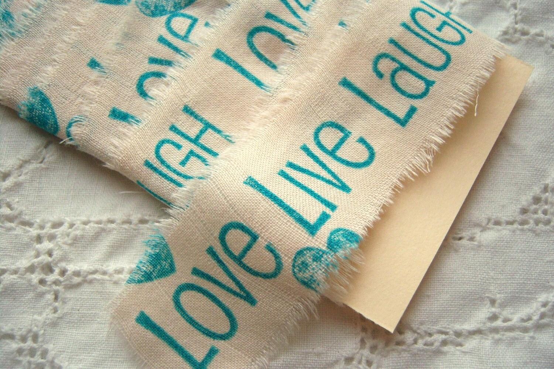 Love Live Laugh Handstamped Trim Ribbon Tape
