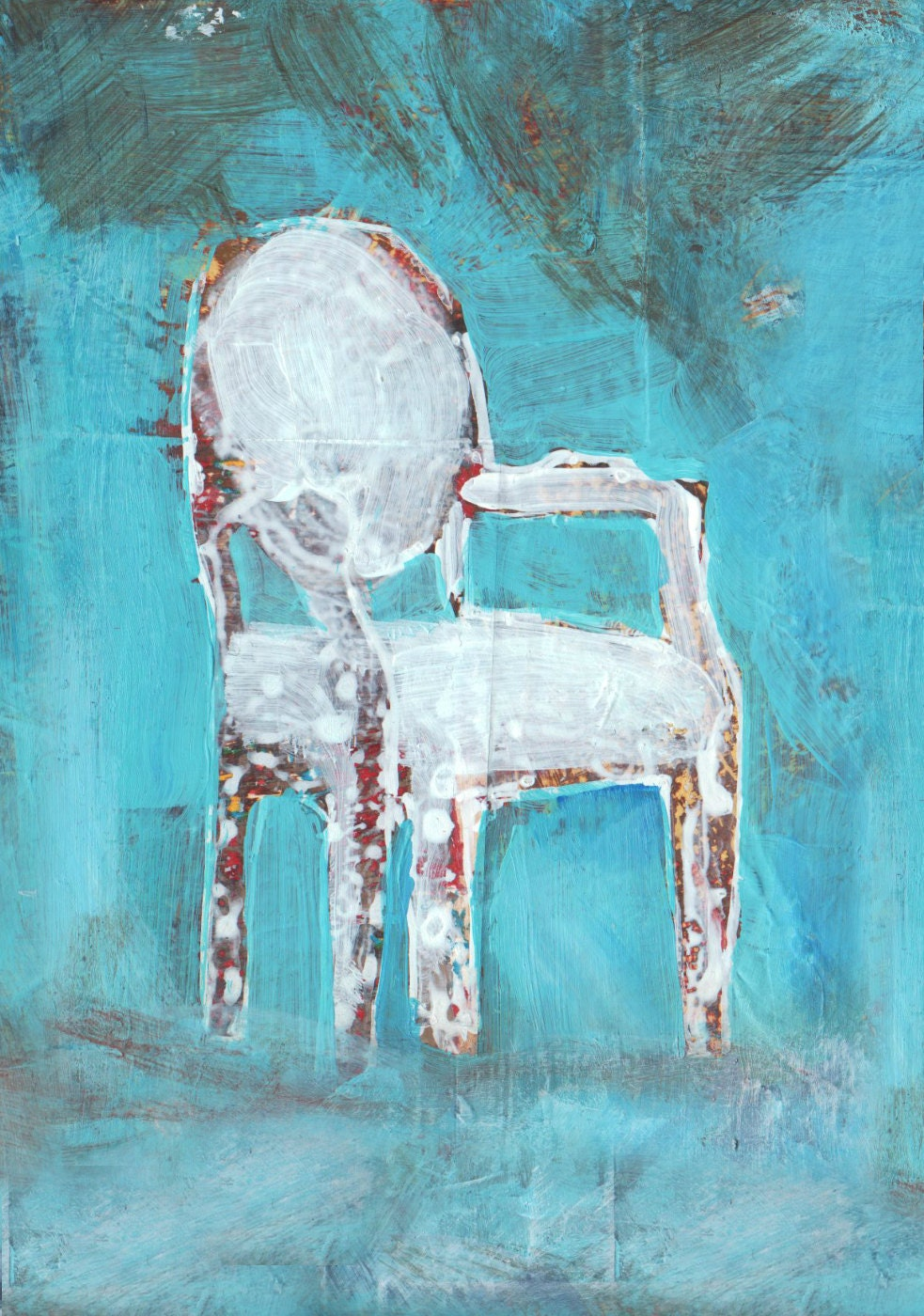 Giclee Print from Original Mixed Media Painting of a Chair - dianamulder