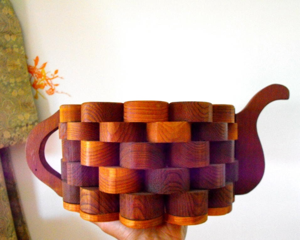 Vintage WOODEN handmade Large Tea POT planter AMAZING